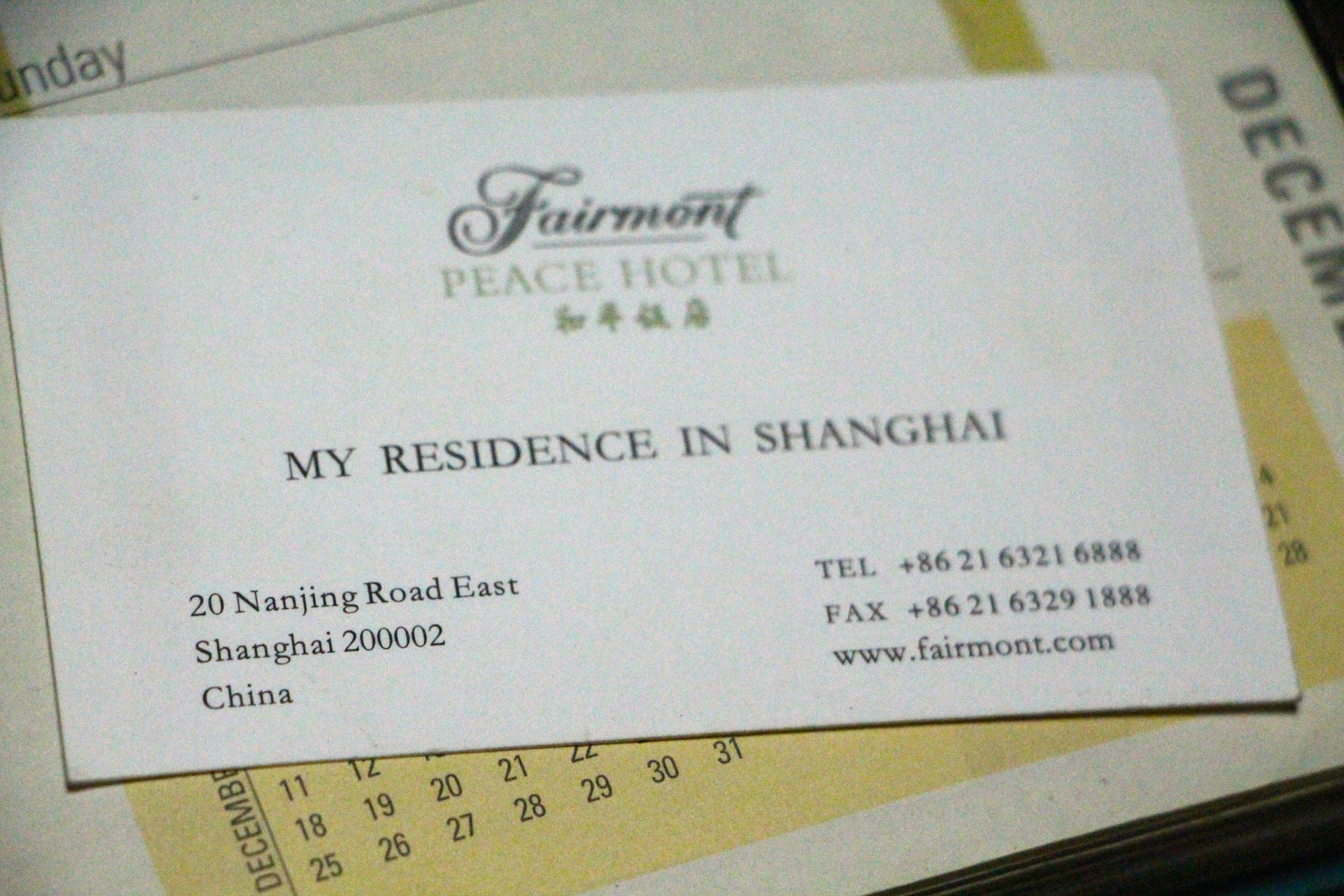 Would my trip to shanghai been more memorable if there was no fairmont business card english reheart Image collections